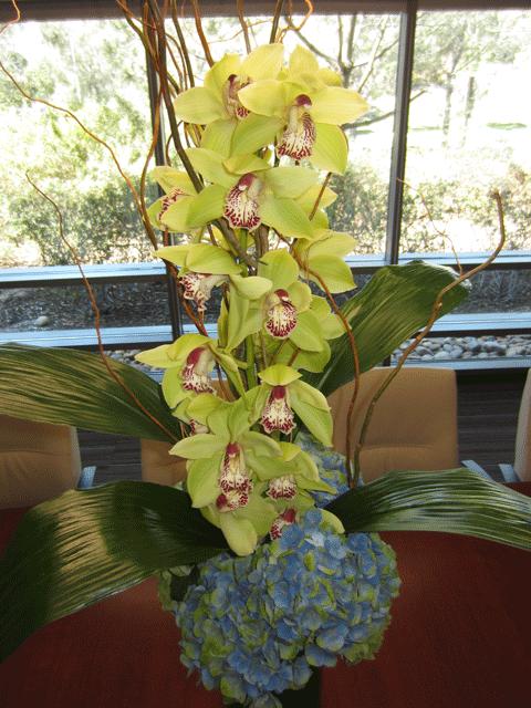 Floral-Cymbidium-Orchid-Hydrangea-Close-up